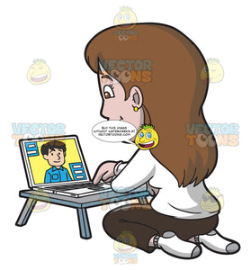 A Woman Speaking With Her Online Date Using The Laptop