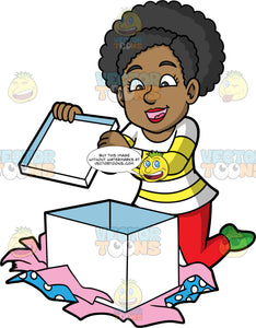 Jackie Opening A Big Gift Box. A black woman wearing red pants, a yellow and white sweater, and green socks, kneeling on the floor and opening a big white gift box