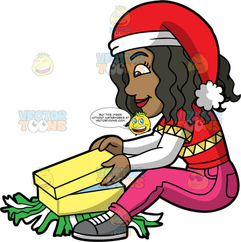 Maggy Sitting On The Floor And Opening A Christmas Gift. A black woman wearing pink pants, a red shirt over a long sleeve white shirt, gray shoes, and a Santa hat, sitting on the floor opening a yellow gift box