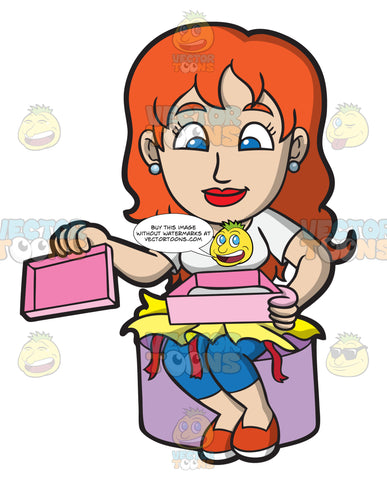 A Woman Opening A Gift Box