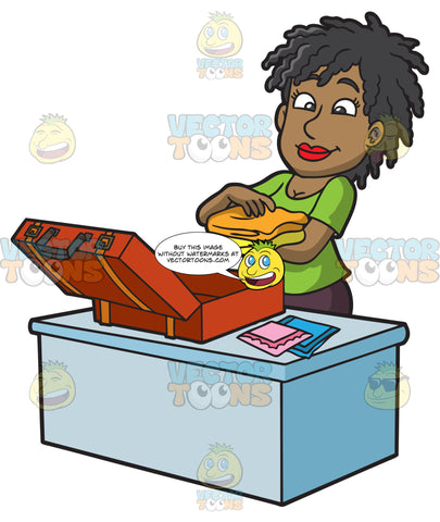 A Black Woman Placing Her Travel Clothes In A Suitcase
