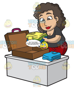 A Woman Packing Her Suitcase For A Vacation