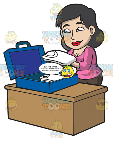 A Woman Packing Her Clothing Into A Blue Suitcase