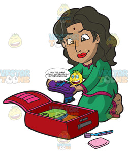 An Indian Woman Packing Her Suitcase