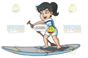 An Enthusiastic Woman Paddling A Board