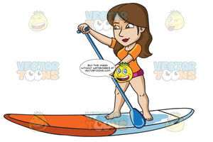 A Woman Paddling On A Surfboard