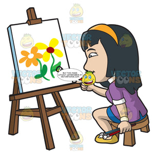 An Asian Woman Paints Flowers On Canvas