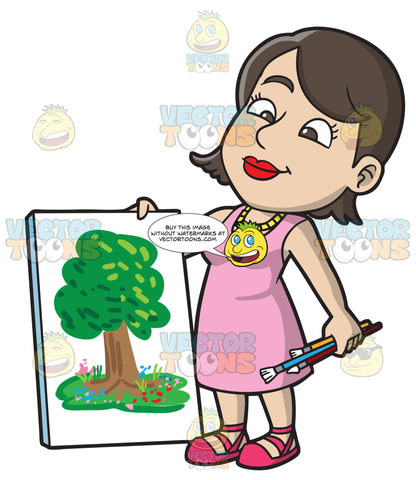 A Woman Presenting Her Tree Painting