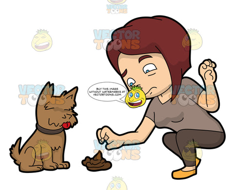 A Woman Picking Up A Dog Turd