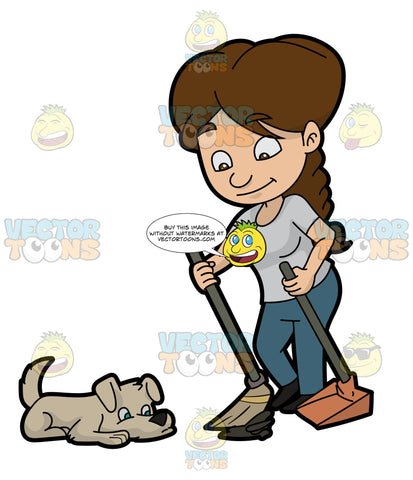 A Woman Cleaning The Poop Of Her Dog