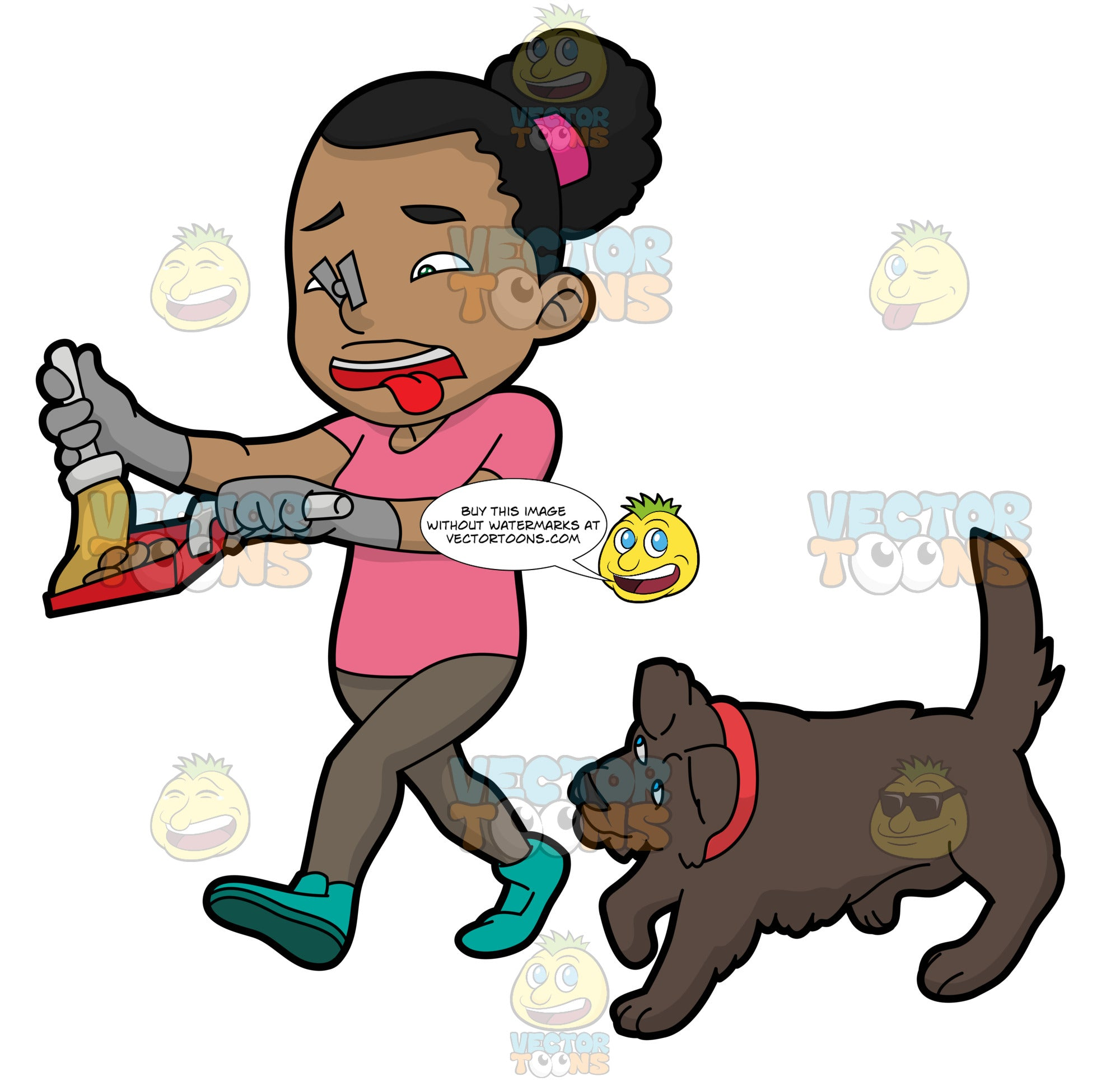 A Black Woman Picking Up The Poop Of Her Dog
