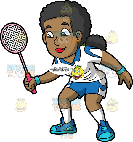 A Black Woman Ready For A Game Of Badminton. A black woman with her hair tied back in a low ponytail, wearing blue and white shorts, a white and blue shirt, white socks, and blue shoes, holds a pink badminton racquet in her hand as she waits for the game to start