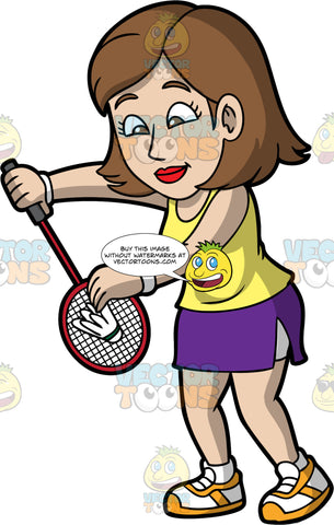 A Woman Preparing To Serve A Shuttlecock. A woman with brown hair and eyes, wearing a purple skirt, a yellow tank top, and white and yellow shoes, holds a shuttlecock against her badminton racquet as she gets ready to serve