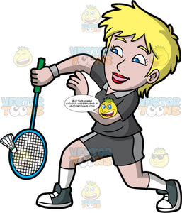 A Blonde Woman Playing Badminton. A woman with short blonde hair and blue eyes, wearing dark gray shorts, a matching dark gray shirt, and dark gray high top sneakers, lunges forward as she hits a shuttlecock with the racquet in her hand