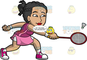 An Asian Woman Playing Badminton. An Asian woman with black hair, wearing a pink skirt with white shorts underneath, a purple and pink tank top, and pink sneakers, hitting a shuttlecock with the badminton racquet in her hand