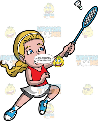 A Woman Leaping Up To Hit A Shuttlecock With Her Badminton Racquet. A woman with dark blonde hair and blue eyes, wearing a white skirt with gray shorts underneath, a red tank top, and blue shoes, reaches her arm up into the air and tries to hit a shuttlecock with the racquet in her hand
