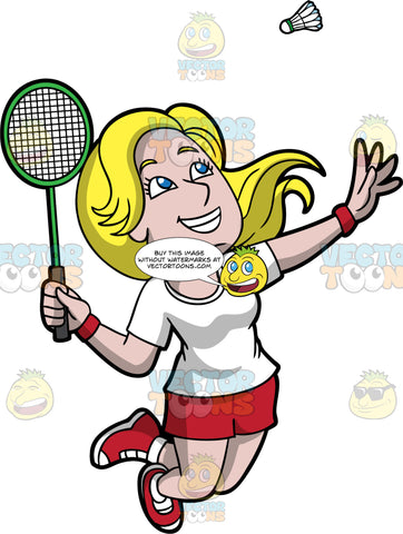 A Happy Woman Playing Badminton. A woman with long blonde hair and blue eyes, wearing red shorts, a white t-shirt, and red sneakers, leaping up into the air and swinging her arm behind her as she prepares to hit a shuttlecock with the racquet in her hand