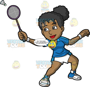 A Black Woman Hitting A Shuttlecock With Her Racquet. A black woman with her hair tied up in a bun, wearing white with blue shorts, a blue shirt, and blue and white shoes, reaches her arm out and hits a shuttlecock with her racquet