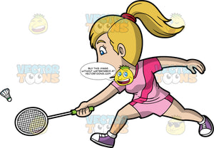 A Woman Playing Badminton. A woman with dark blonde hair tied in a ponytail, wearing pink shorts, a pink shirt, and purple shoes, lunges forward and reaches her arms out to try and hit a shuttlecock with her racquet