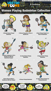 Women Playing Badminton Collection