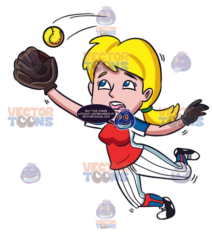 A Female Baseball Player Catching The Ball In The Air.