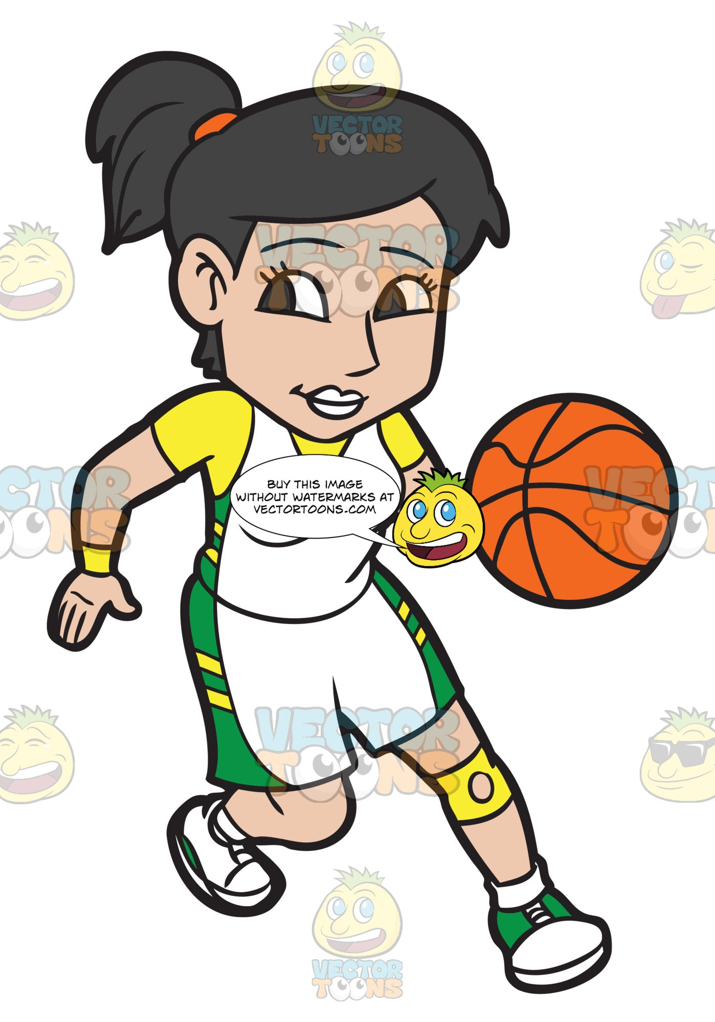 A Female Basketball Player Practicing Her Moves Before A Game Clipart Cartoons By Vectortoons