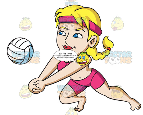 A Woman Enjoying A Game Of Beach Volley