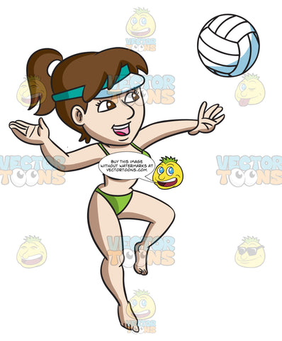 A Woman Jumps Up To Spike A Ball