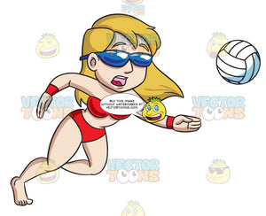 A Woman Panics Into Saving A Ball During A Beach Volley Game