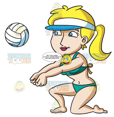 A Woman Kneels Down To Volley A Ball