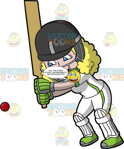 A Blonde Woman Getting Ready To Hit A Cricket Ball. A woman wearing a black safety helmet, white uniform, green shoes and gloves, and white shin and knee pads, holds a cricket bat up and watches a ball approaching her and gets ready to hit it