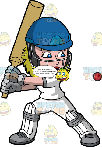 A Female Batter Preparing To Hit A Cricket Ball. A woman with blonde hair, wearing a blue safety helmet, white cricket uniform, grey gloves and shoes, and white knee and shin pads, lifts her arms up as she holds a cricket bat in both hands and prepares to swing as a red ball heads towards her