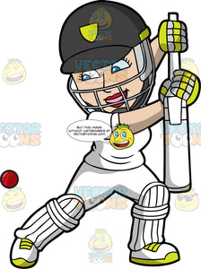 A Female Batter Prepares To Hit A Cricket Ball. A woman wearing a dark grey with yellow safety helmet, white cricket uniform, grey and yellow gloves, white shoes with yellow laces, and white knee and shin pads, leans to one side as she holds a cricket bat in both hands and prepares to hit a red ball heading towards her