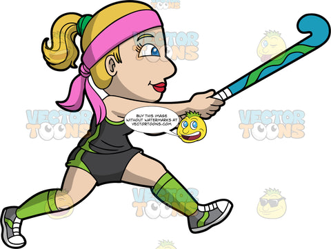 A woman holding A field hockey stick and running. A woman with dirty blond hair and blue eyes, wearing dark gray and green shorts, a dark gray and green tank top, green socks, gray shoes, and a pink headband, runs as she holds her field hockey stick up in the air