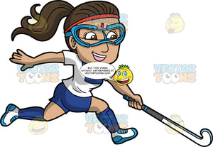 An Indian woman playing field hockey. An Indian woman with dark brown hair tied in a ponytail, wearing blue shorts, a white and blue shirt, blue socks, white and blue shoes and safety goggles, runs across the field with her field hockey stick in one hand