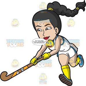A woman running with her field hockey stick. A woman with black hair tied up in a braid, wearing white and blue shorts, a white and blue tank top, yellow socks, blue shoes and yellow gloves, holds her field hockey stick in both hands as she runs down the field