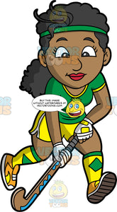 A black woman playing field hockey. A black woman wearing yellow shorts, a green shirt, yellow and green socks, orange shoes, and a green headband, holding a hockey stick in both her hands and running