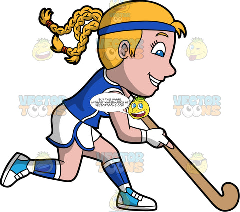 A blonde woman having fun playing field hockey. A woman with blond hair and blue eyes, wearing white shorts and a blue shirt, blue and white socks and blue and white shoes, smiles as she holds her field hockey stick and runs across the field