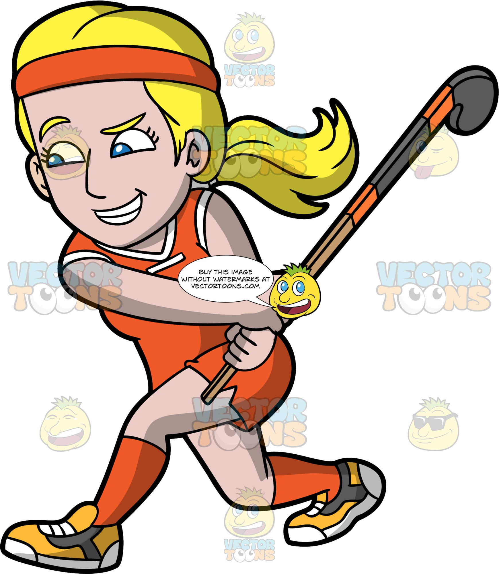 A blonde woman preparing to hit a field hockey ball. A blonde woman with blue eyes, wearing orange shorts, an orange shirt, orange socks, yellow shoes and an orange headband, holds her field hockey stick in the air in preparation for hitting a ball