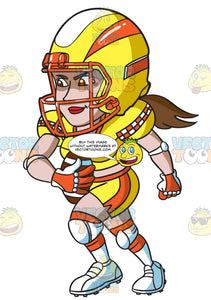A Female Football Player Charging Ahead