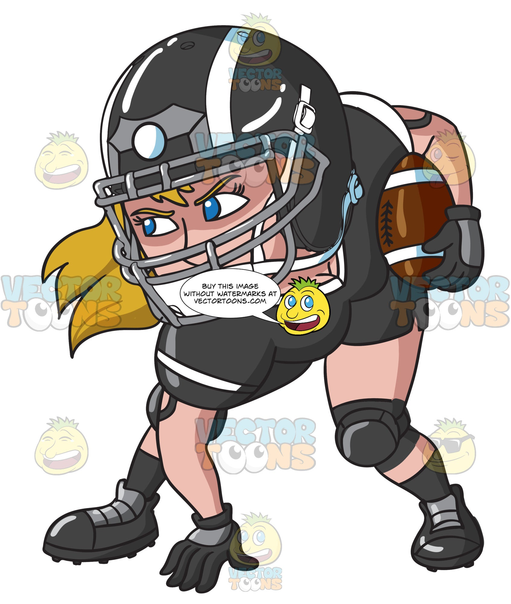 A Female Football Player Ready To Play Clipart Cartoons By Vectortoons