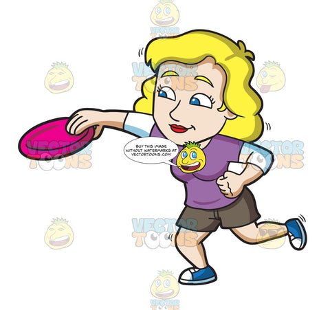 A Woman Catches A Frisbee