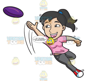 A Woman Jumps To Catch A Flying Disc