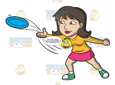 A Brunette Woman Throwing A Blue Frisbee