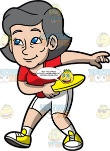 Mary Throwing A Frisbee. A mature woman wearing white shorts, a red t-shirt, and yellow shoes, about to throw a yellow frisbee