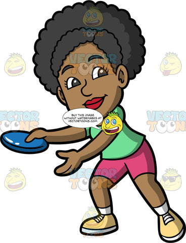 Jackie Ready To Throw A Frisbee. A black woman wearing pink shorts, a green shirt, and yellow shoes, holding a blue frisbee and getting ready to throw it