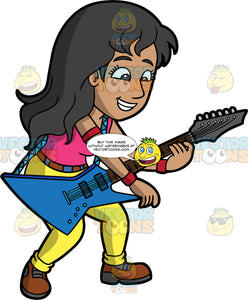 A Mexican Woman Playing A Blue Electric Guitar. A Mexican woman with long black hair, wearing yellow pants, a pink shirt, and brown shoes, smiles as she plays a cool looking blue electric guitar