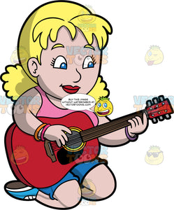 A Woman Playing A Red Acoustic Guitar. A chubby woman with blonde hair and blue eyes, wearing blue shorts, a pink tank top, and blue shoes, kneels on the ground as she plays a song on a red acoustic guitar