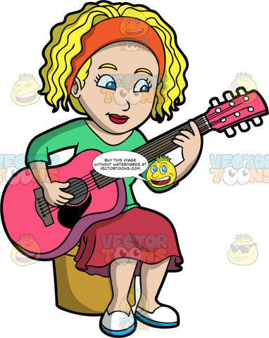 A Woman Playing A Pink Acoustic Guitar. A woman with blonde, curly hair and blue eyes, wearing a red skirt, green shirt and white shoes, sitting on a stool and playing a hot pink acoustic guitar