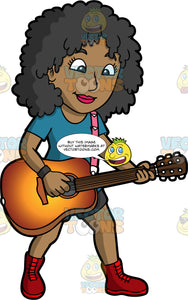 A Stylish Black Woman Playing An Acoustic Guitar. A black woman with long, curly hair, wearing black shorts, a blue shirt, and red lace up boots, standing up and playing a classic guitar